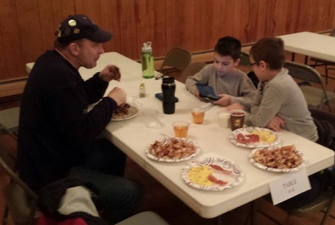 Bro. Perkins and family at breakfast March 21