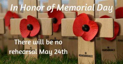 No rehearsal May 24 at St Mark's Lodge