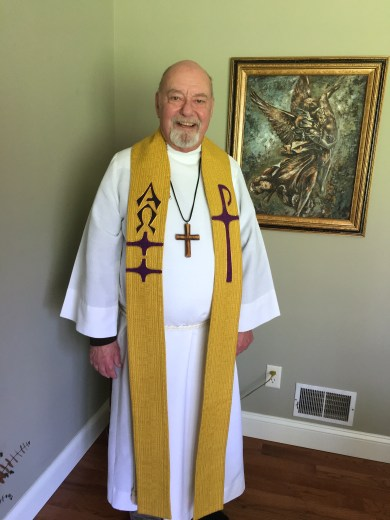 Interim Pastor David E. Mueller in Easter vestments
