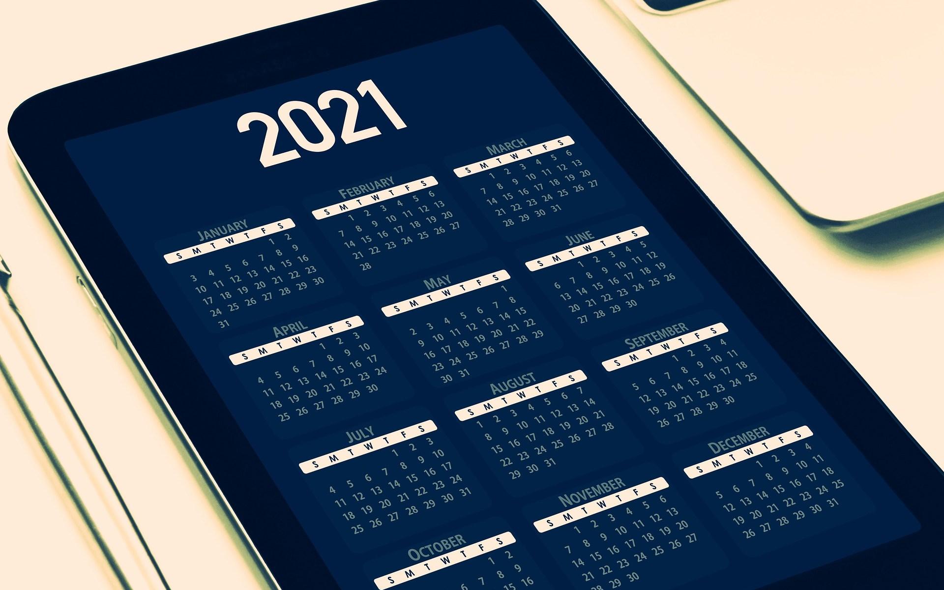 2021 calendar. Image by Gerd Altmann from Pixabay