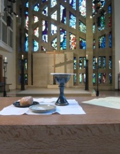 Bread and wine on the church altar
