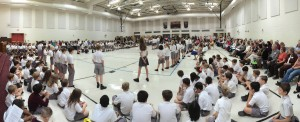 Students pray a living rosary at Holy Cross Academy.