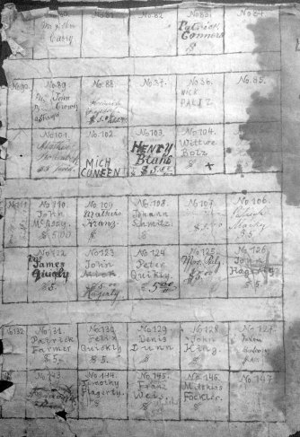 An 1872 plot map of the cemetery.