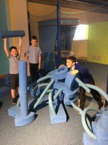 Boys building a fort.