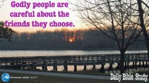Picture of sunset at lake in the park for the daily Bible study page Proverbs 12:26