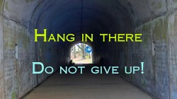 Picture of a man in a tunnel for the do not give up bs