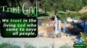 Picture of fountain in memorial park for the trust god bible study 1 Timothy 4:10