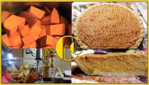 collage of sweet potato pie