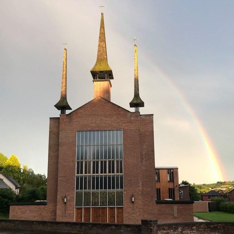 Rainbow over St Molua's Church 2020