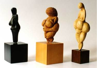 Three figurines made of different material. | Courtesy of Ancient Wisdom