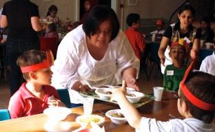 Volunteering at messy church food