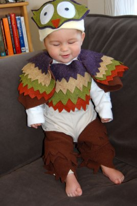 Griffin tries on his owl costume for the first time.