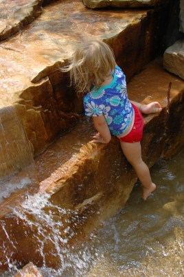Climbing the falls.