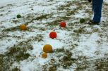 Bocce balls in the snow.