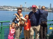 One of the few photos of all five of us, on the ferry to Bainbridge.