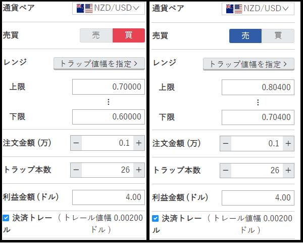 トラリピ NZD/USD 設定