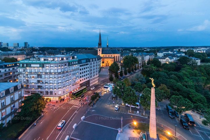 Luxembourg city aerial night view