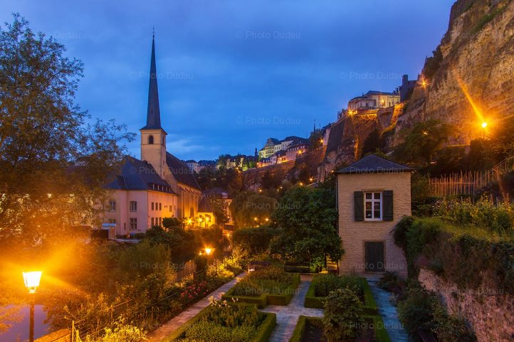 Grund at night in Luxembourg city
