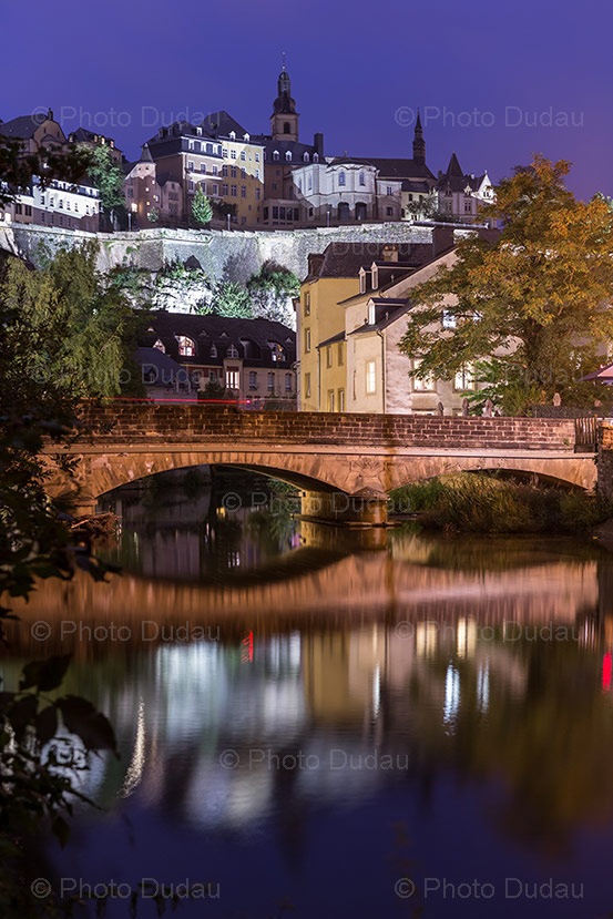 night in grund luxembourg city stock image