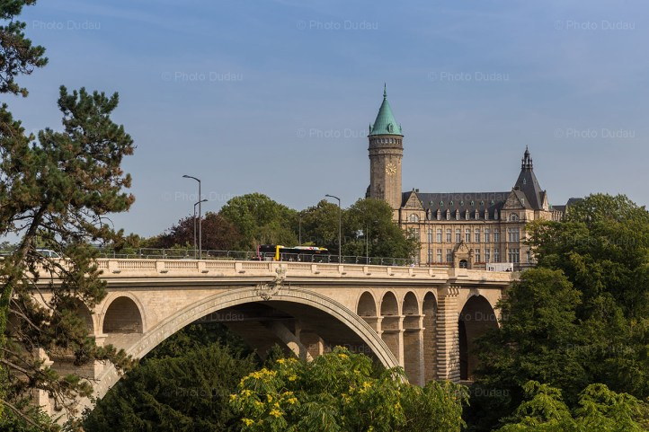 Pont Adolphe and Spuerkeess in Luxembourg