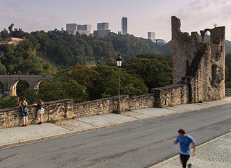 contrast between old ruins and new buildings in Luxembourg city
