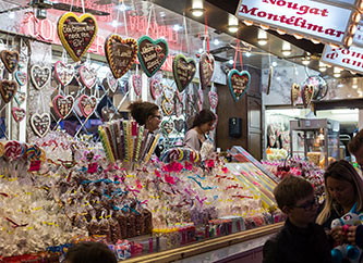 candies displayed for sale at Schueberfouer 2017 in Luxembourg