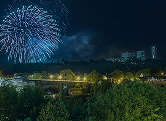 fireworks over Kirchberg and Luxembourg city