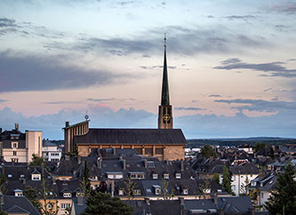 St Pius X church at sunset, in Belair, Luxembourg city.