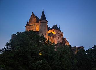 Vianden Castle in Ardennes region of Luxembourg, night view.