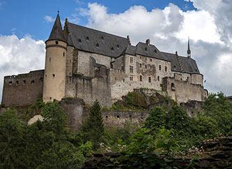 Vianden Castle on the hilltop in Ardennes region, Luxembourg