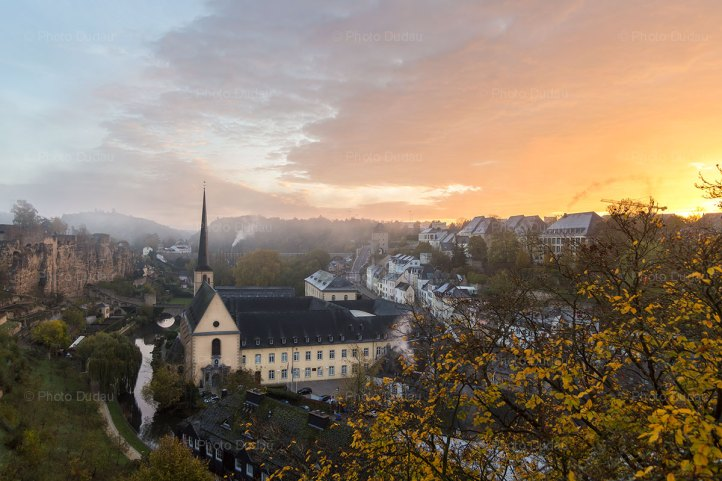 Luxembourg cityscape at sunrise