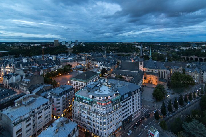 Luxembourg city evening aerial view