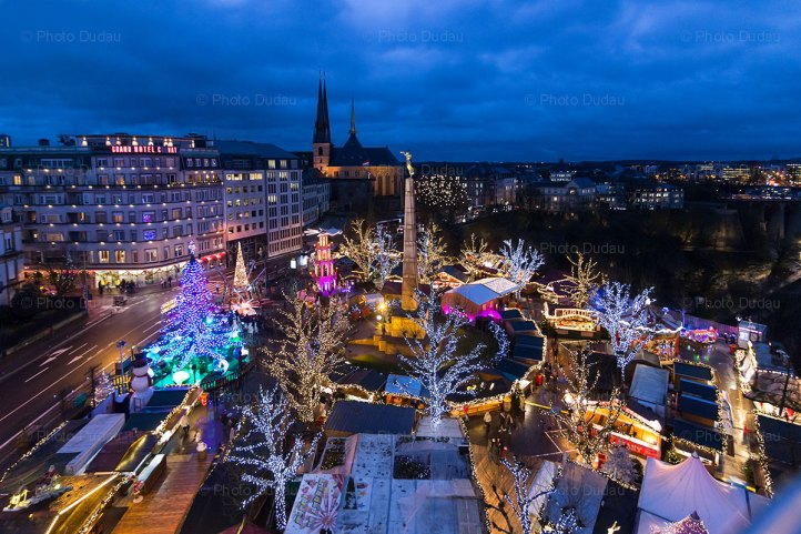 aerial view of luxembourg christmas market 2017