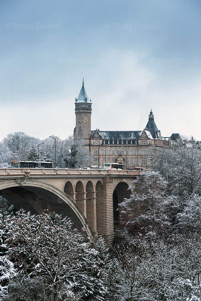 luxembourg city snow in winter