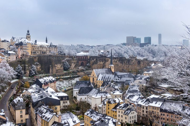 snow covered Luxembourg city in winter