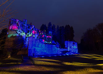 Beaufort Castle illuminated for Magicastle