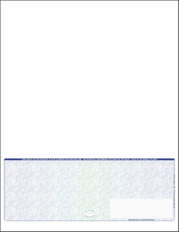 Bottom position One perforation Blue green Blue Blank Laser payroll check ADP compatible