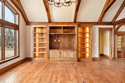 A Custom Built Bookshelf In a Newly Renovated Living Room.