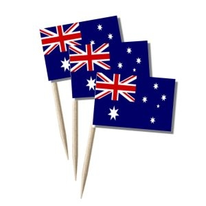 Australien Käsepicker, Minifahnen, Zahnstocherfähnchen