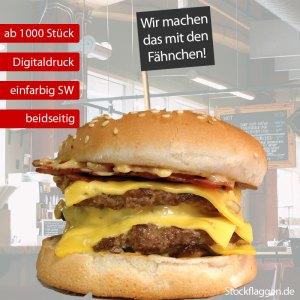 Burgerfähnchen bedrucken, schwarzer Druck, Fähnchengröße: 40 x 50 mm, 15 cm Picker, ab 1000 Stück