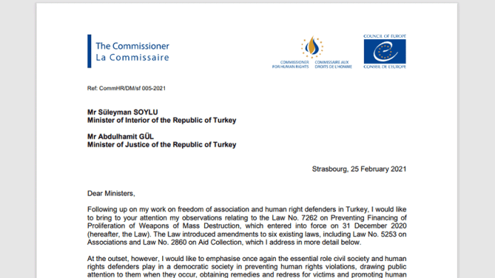 CoE human rights commissioner calls on Turkey to refrain from further implementing new terrorism financing law 20