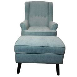 Jenson Armchair and Footstool Teal1