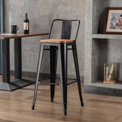 Tannum Matte Black High Stool & Back