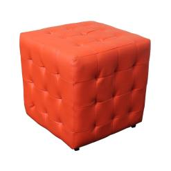 Leather Footstool Red