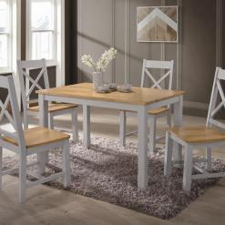 Rochester 4ft Fixed Oak Dining Set