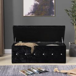 Black Diamante Blanket Box