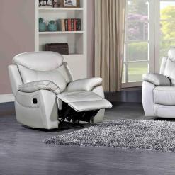 Bradshaw Light Grey Leather 1 Seater Sofa