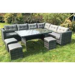 10 Piece Rattan Corner Sofa Dining Set