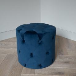 Navy Button Footstool