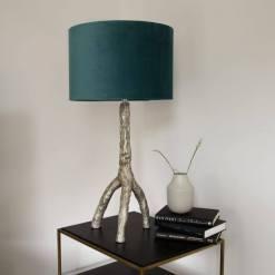 Table Lamp Tripod Gold Teal Velvet Shade